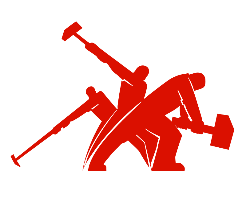 Clipart hammer solid. Worker fight unite simplified