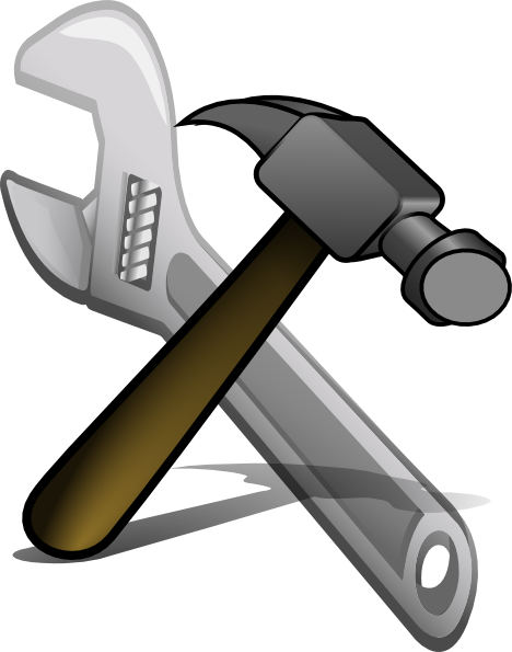 Clipart hammer spanner. Crossed and clip art