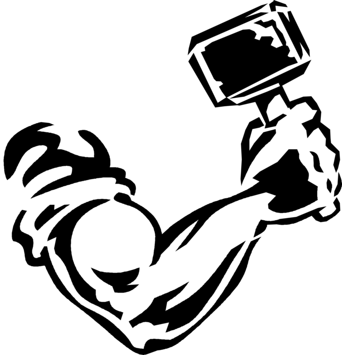 Arm and hammer symbol. Elbow clipart strenth