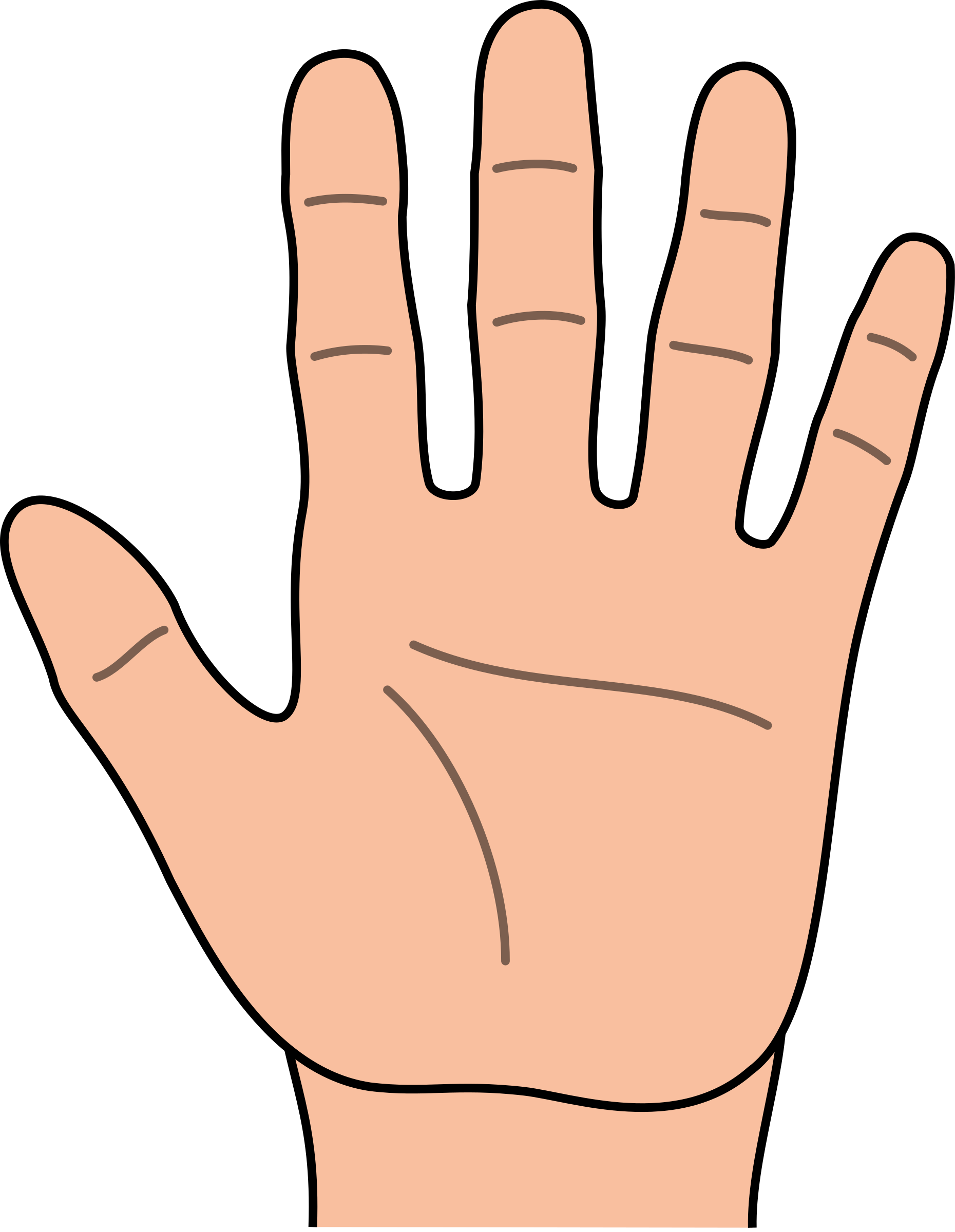 Open heavy outline big. Skin clipart opened hand