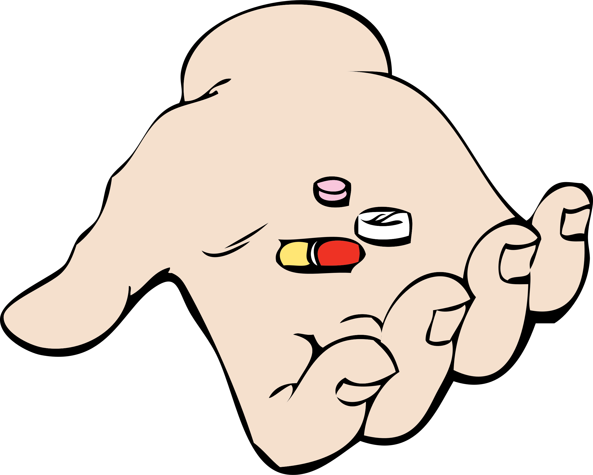 Hand and pills big. Thumb clipart side