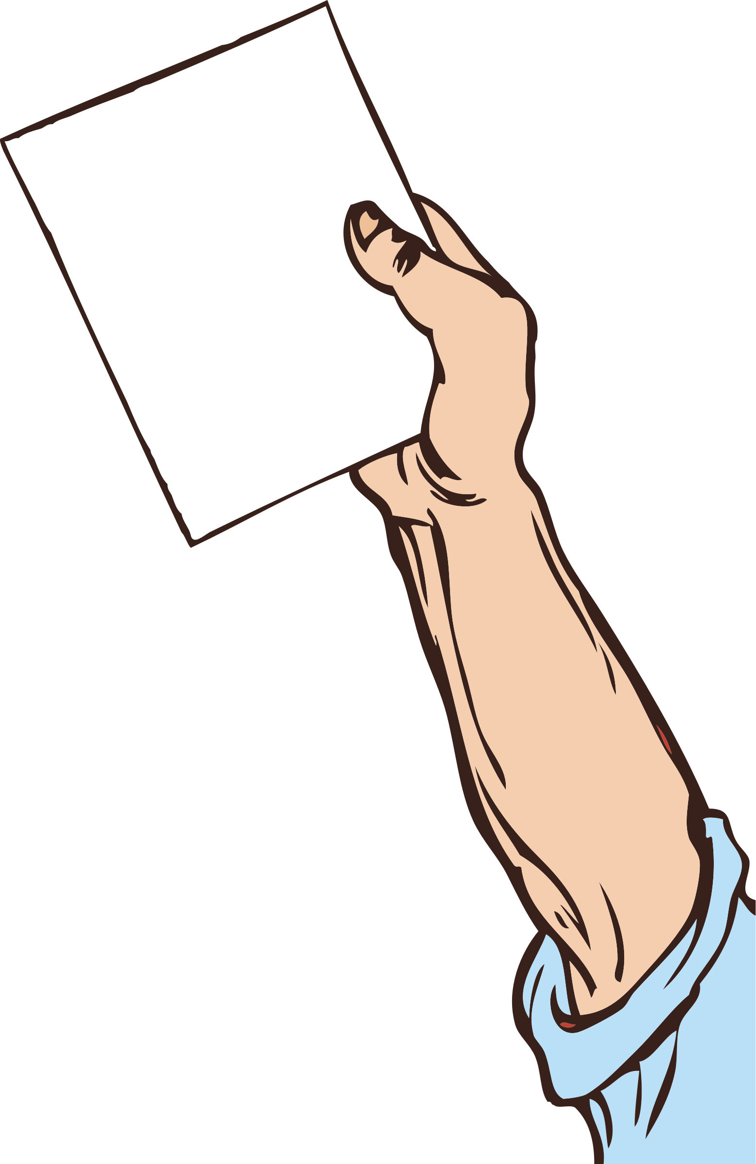 Clipart hand arm. Holding paper big image
