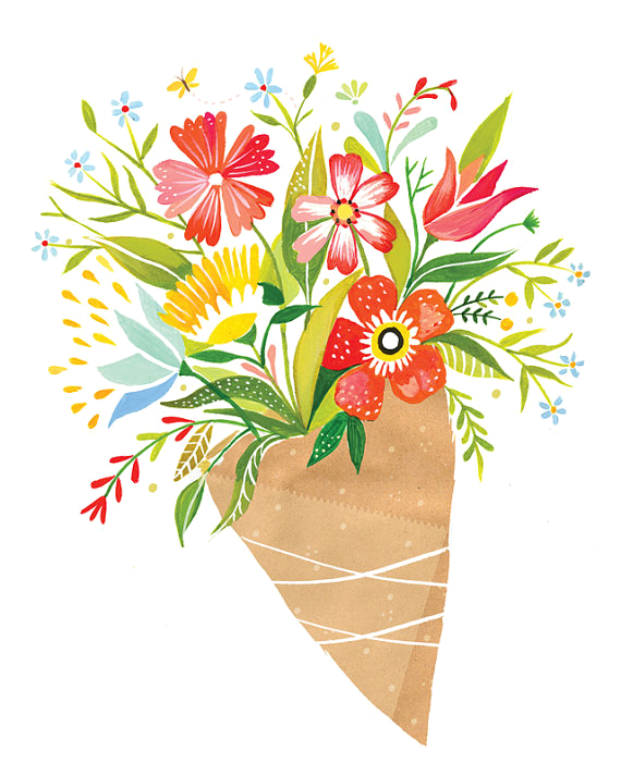 Wildflower drawing at getdrawings. Clipart hands bouquet