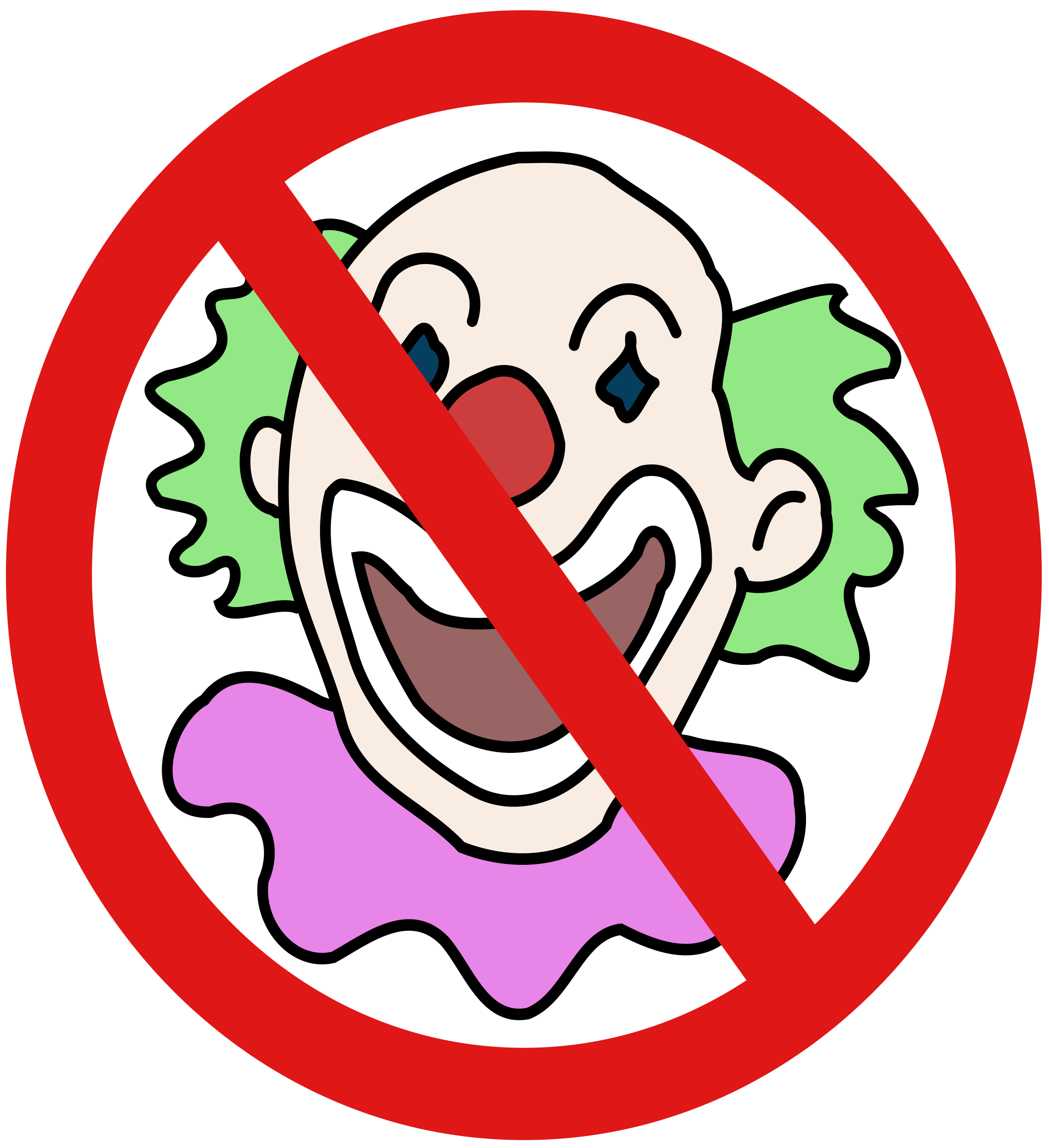No clowns big image. Line clipart modern