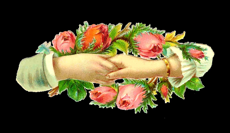 Antique images vintage victorian. Hands clipart flower