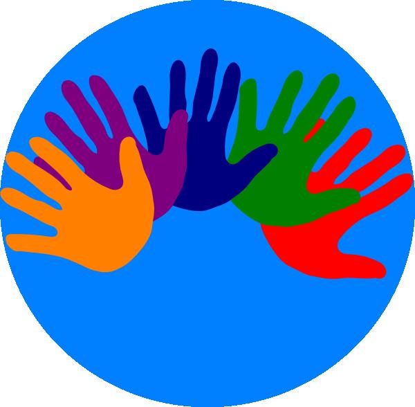 Volunteering clipart logo. Hands various colors clip