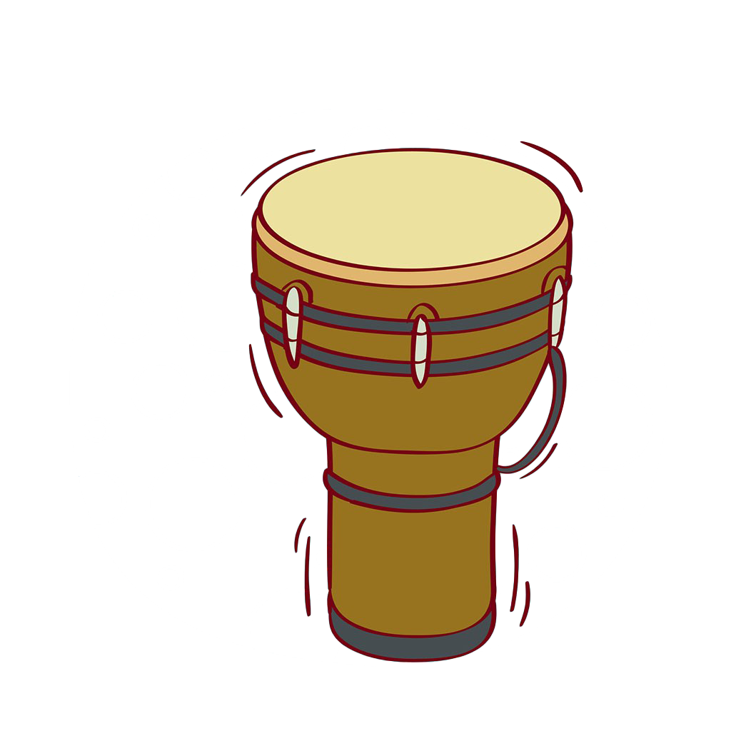 Djembe snare drum percussion. Clipart hand drumming