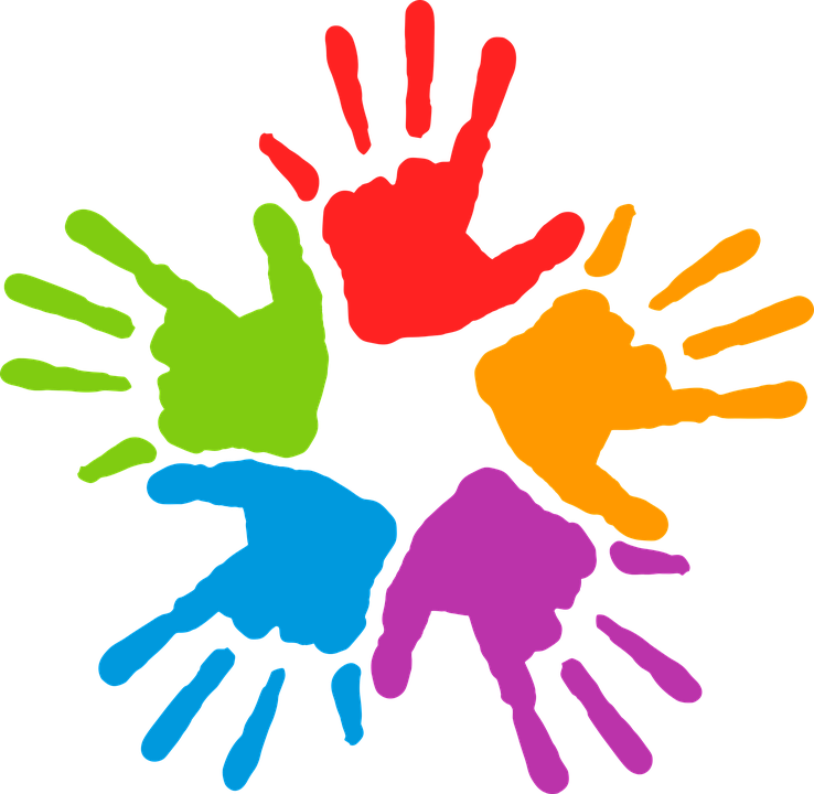 Diversity rocks family event. Handprint clipart large hand
