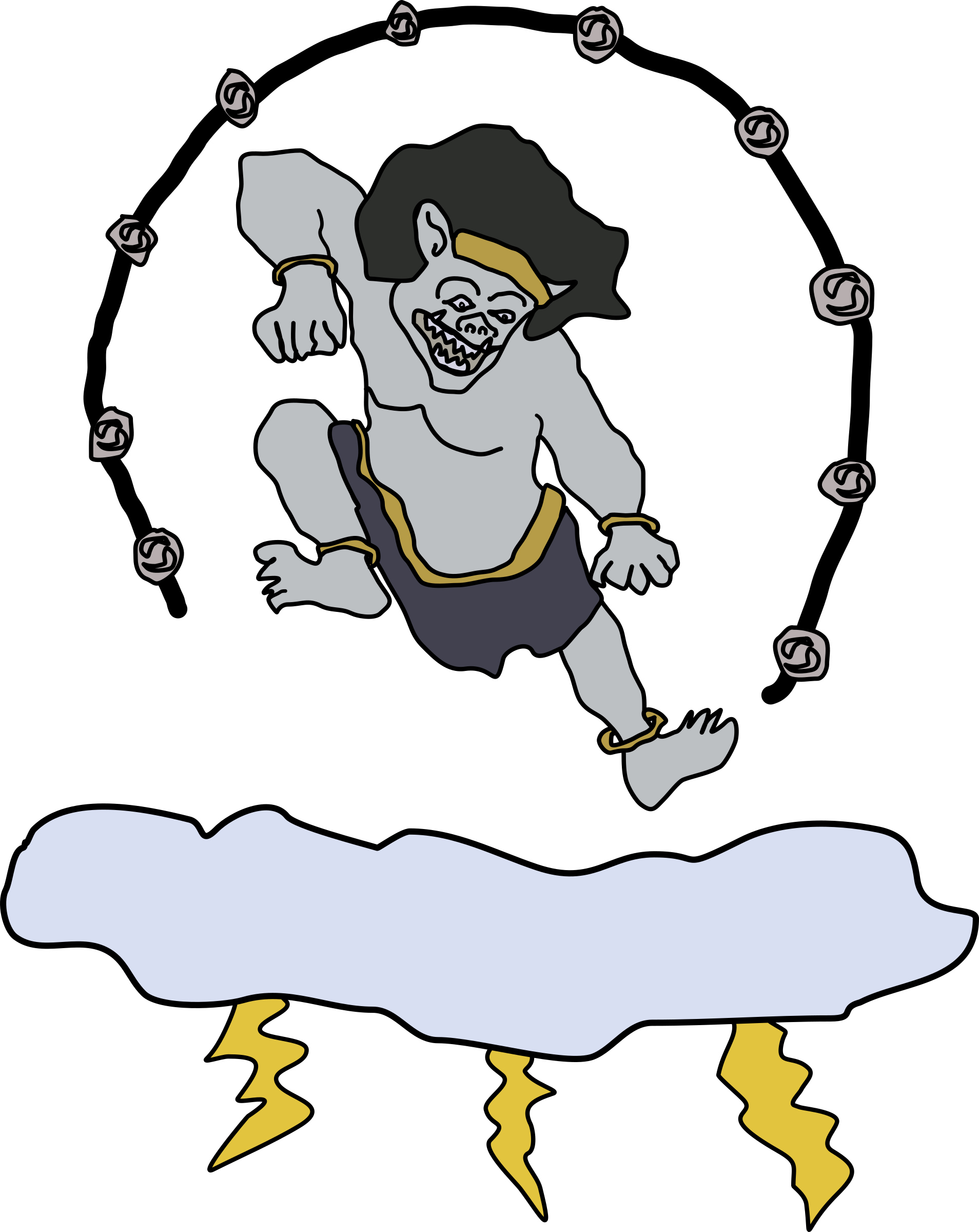 Hand clipart god. Raijin the of thunder