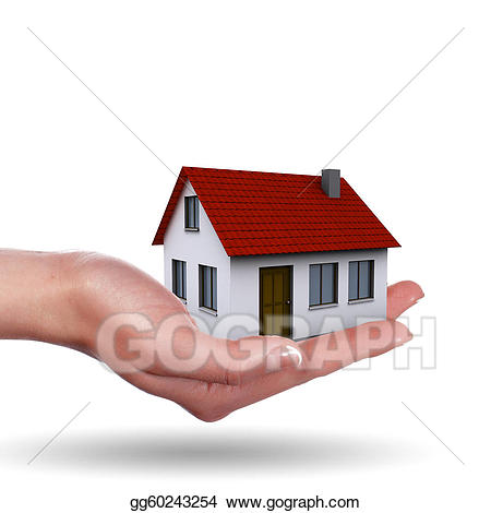 Hands clipart house. Stock illustration little on