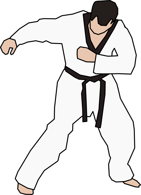 Hand clipart karate. Taekwondo fighter medium image