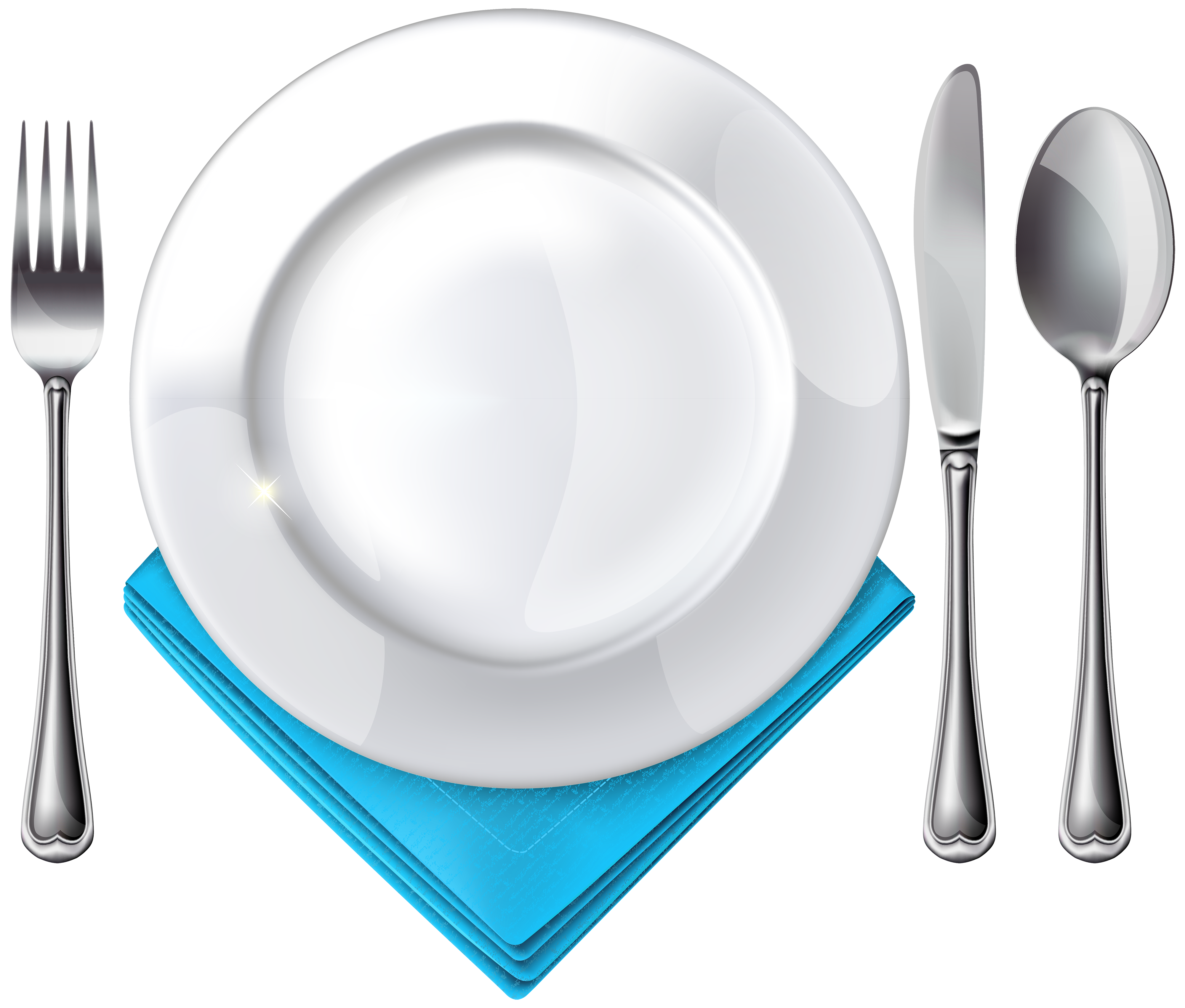 Plate spoon knife fork. Napkin clipart white fabric