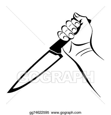 Vector art hand eps. Knife clipart violence