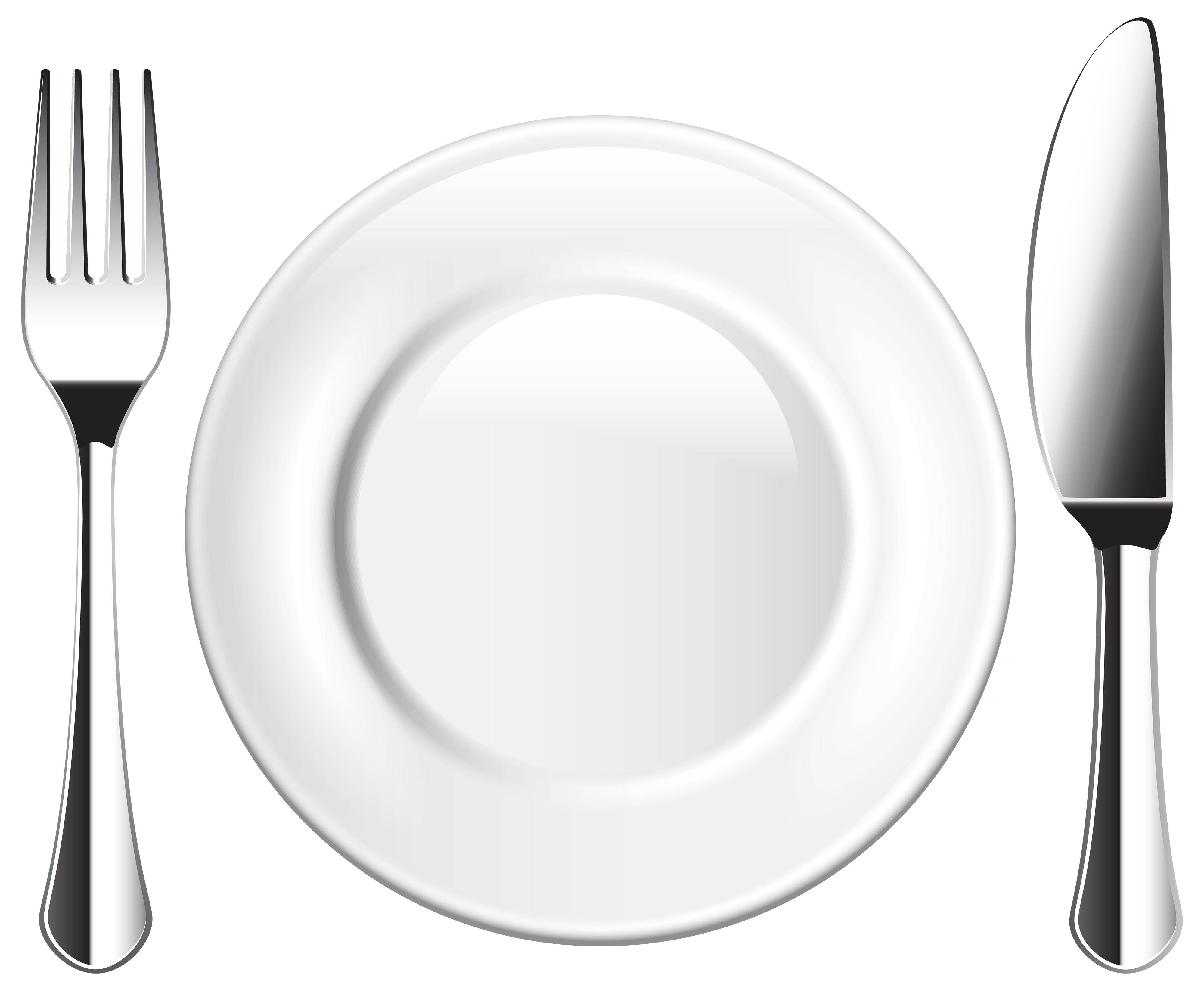 Plate knife and png. White clipart fork