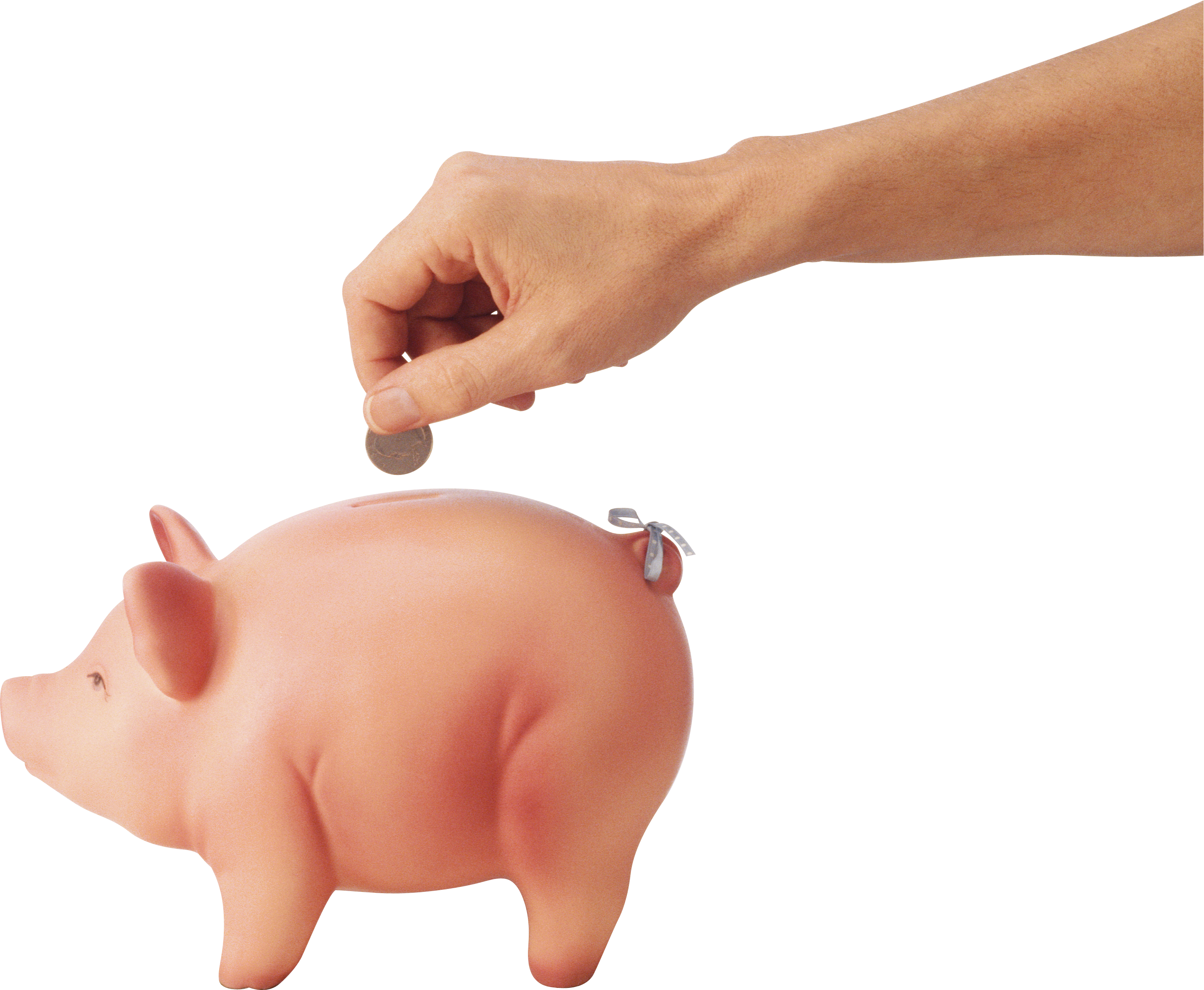 Hand clipart money. Putting into saving pig