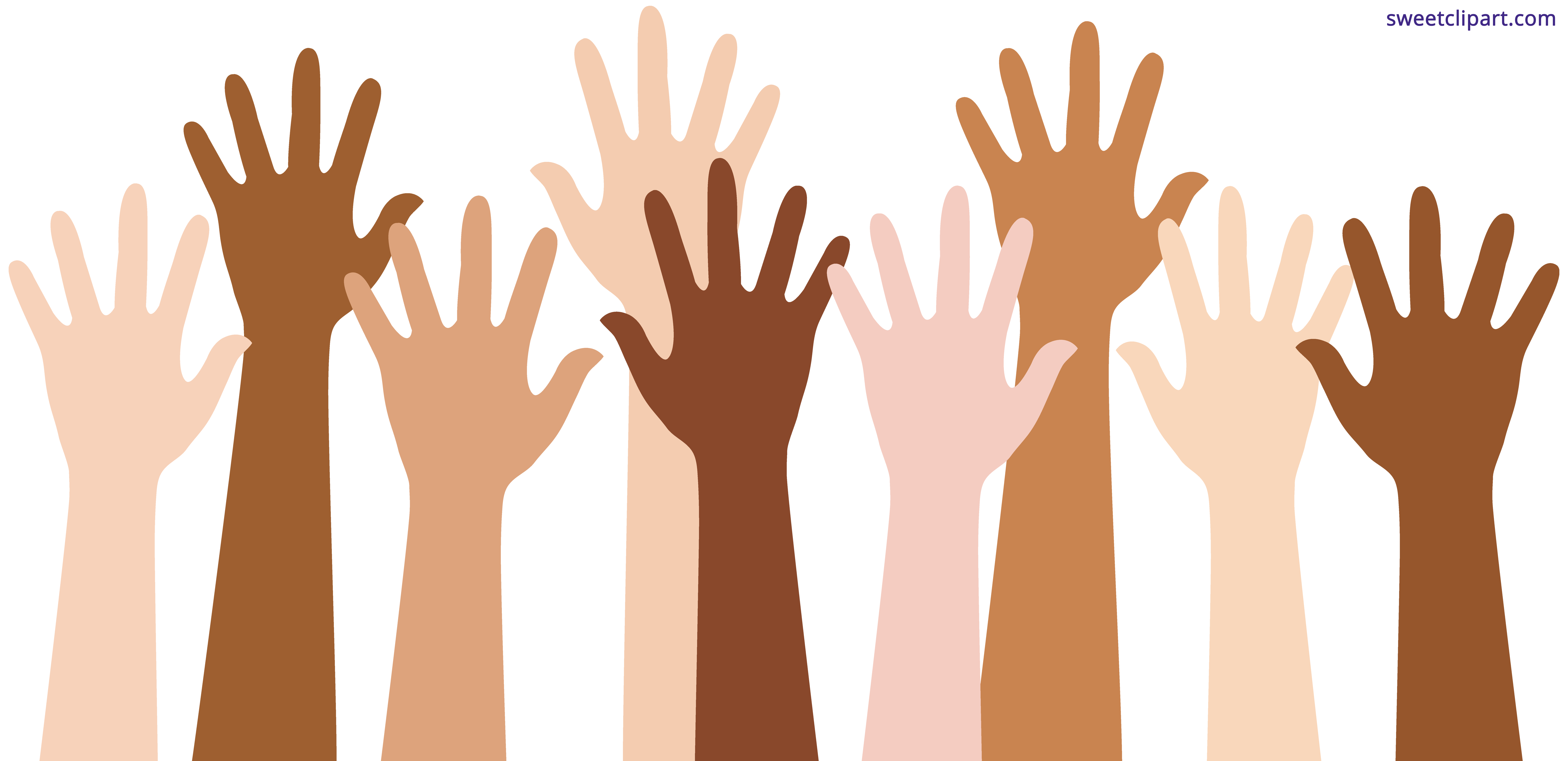 collection of raising. Hand clipart multiracial