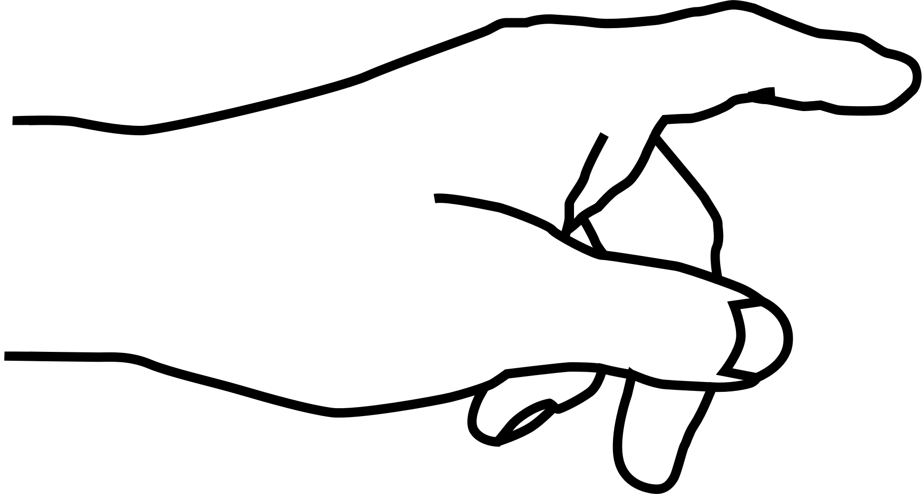 Hand outline pencil and. Fingers clipart six finger