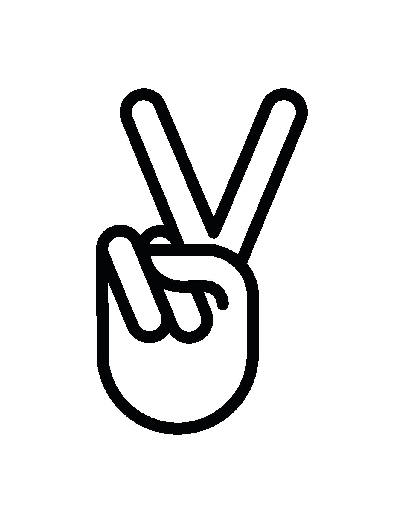 Hands clipart logo. Hand peace sign panda