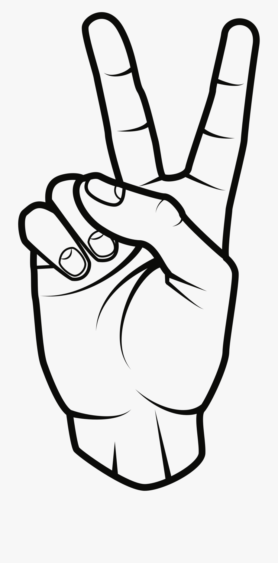 Sign black and white. Hand clipart peace