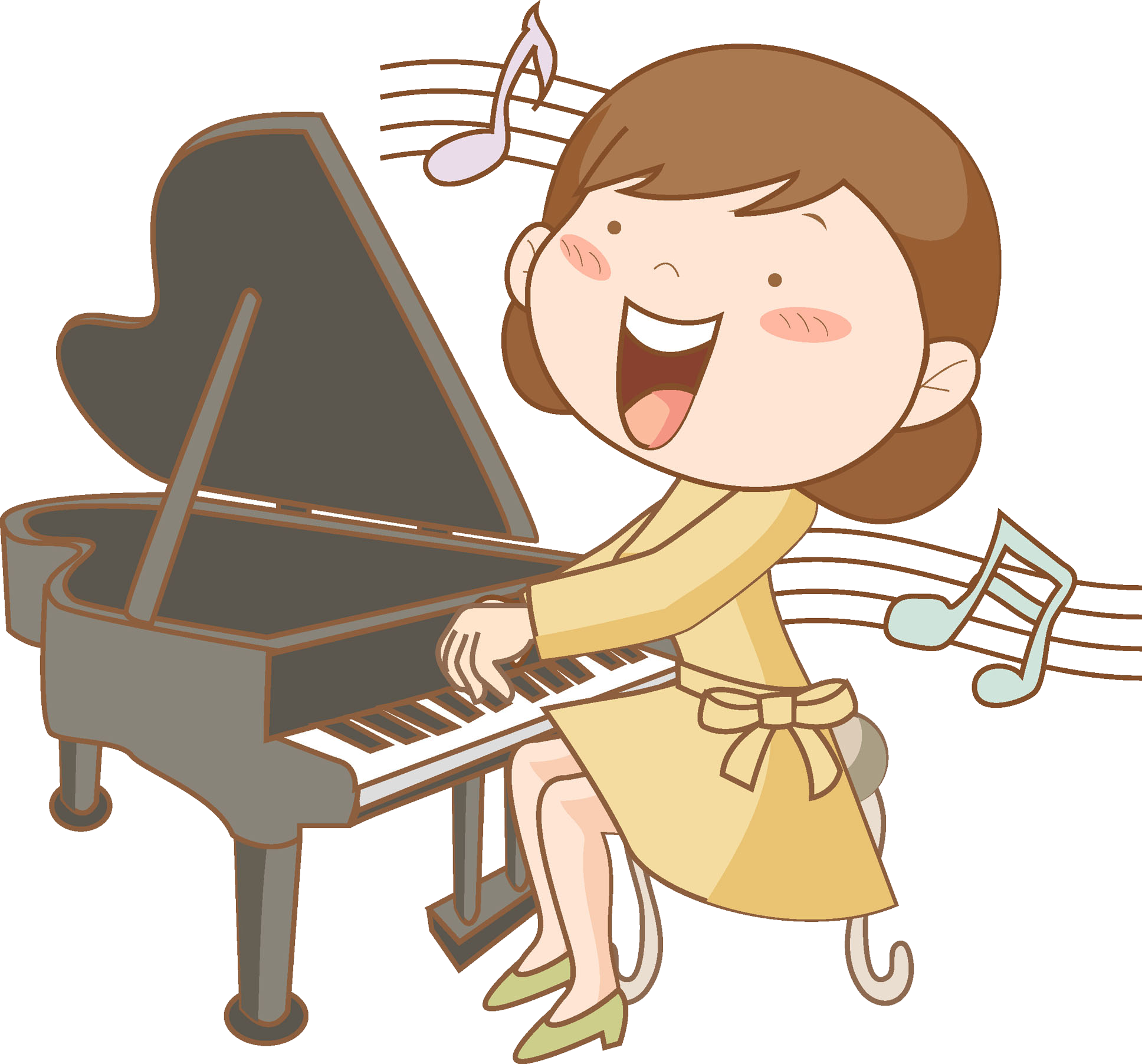 Piano clipart pianist. Cartoon drawing clip art
