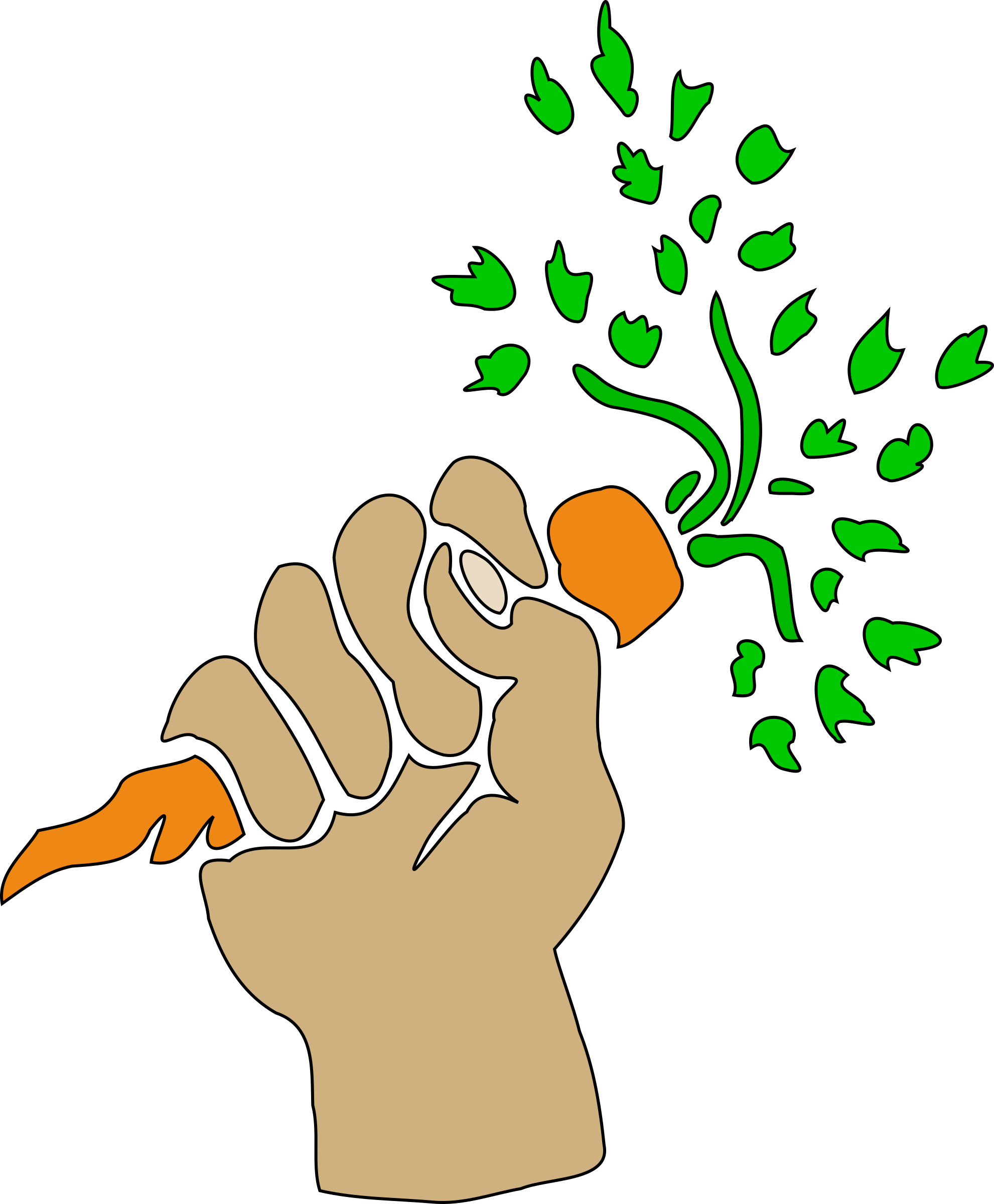 Holding carrot big image. Hand clipart plant