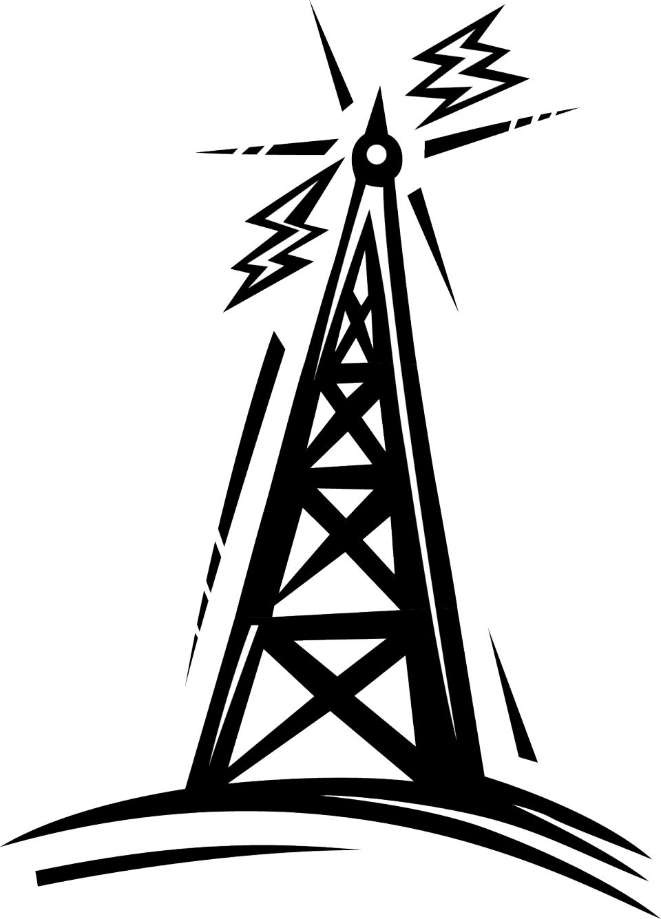Ham radio group tower. Telephone clipart line drawing