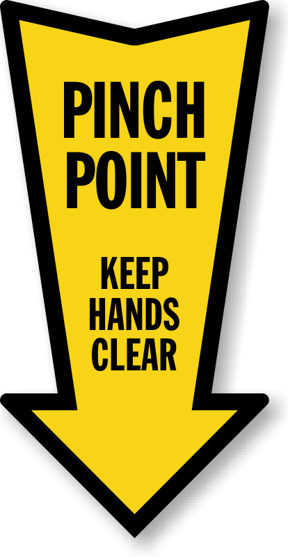 Pinch point arrow label. Hands clipart safety