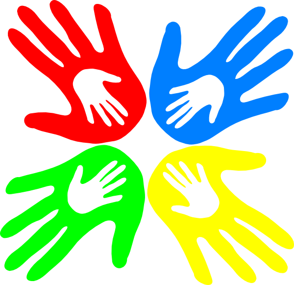 Hands clipart safety. Four colored degree clip