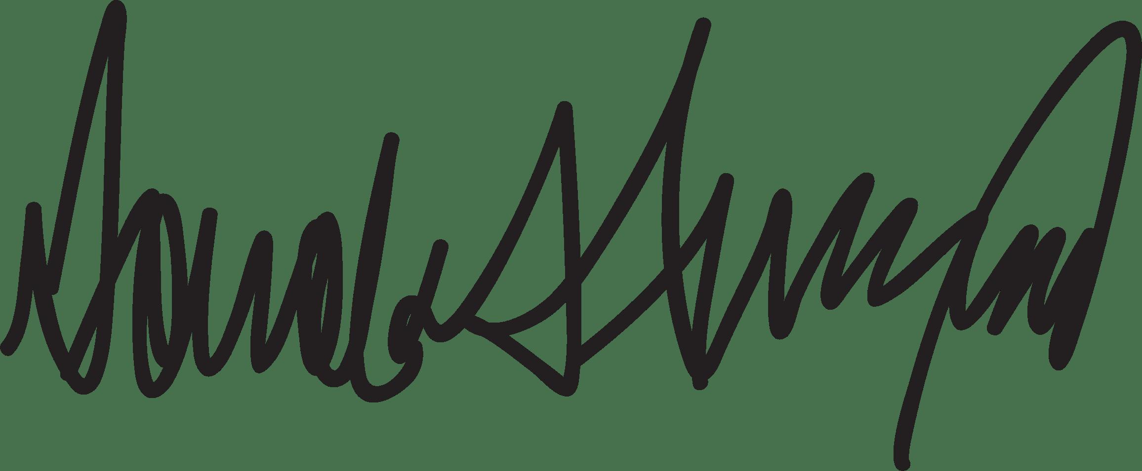 Donald trump transparent png. Hand clipart signature