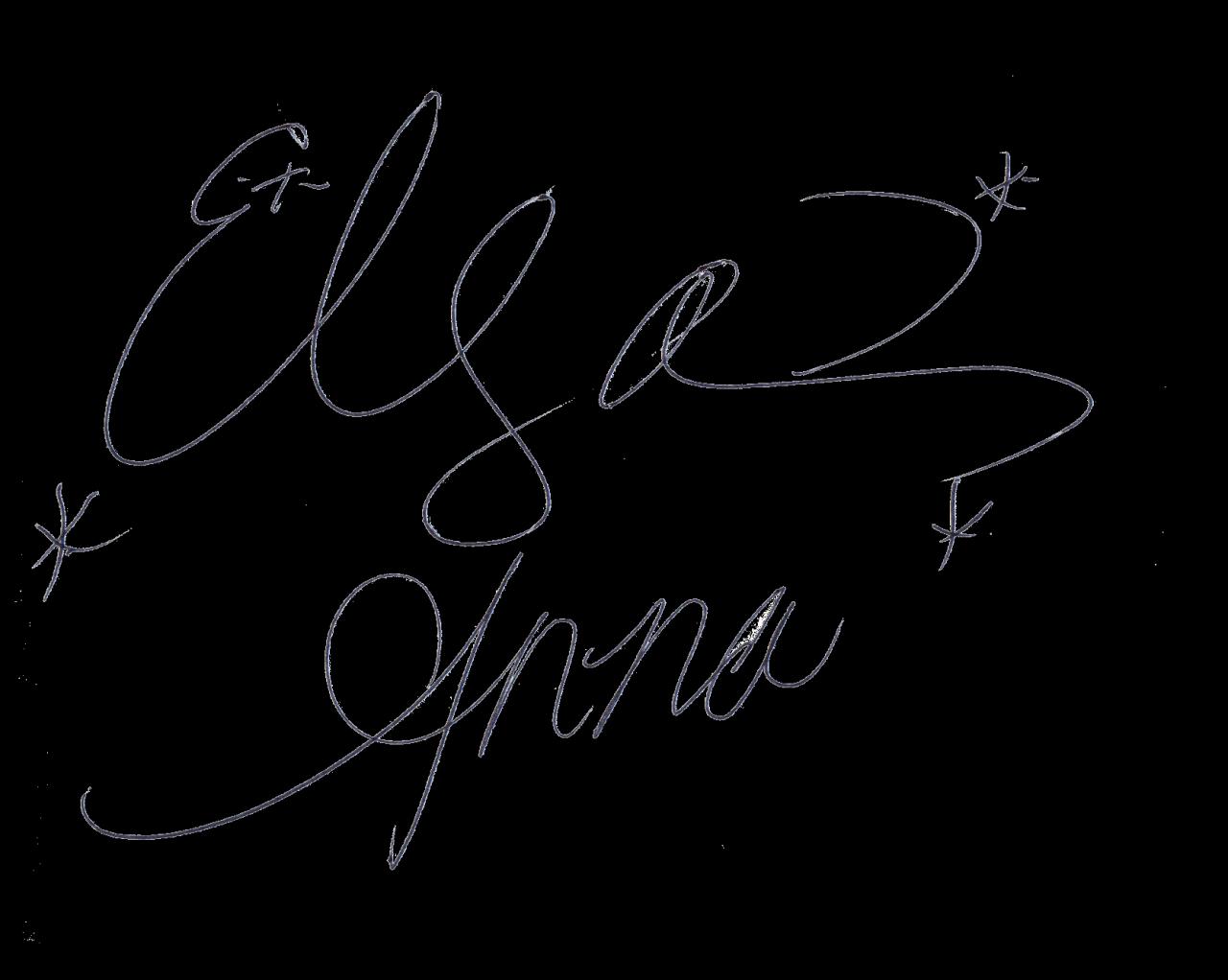 Elsa and anna s. Clipart hand signature