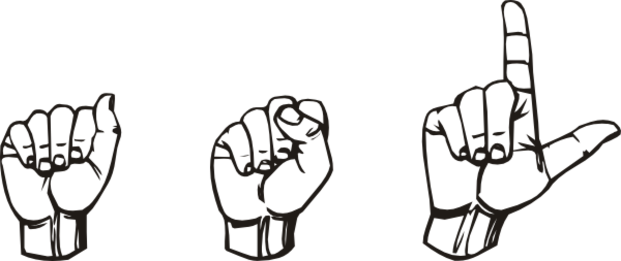 Clipart hand signing. Thinking about learning asl