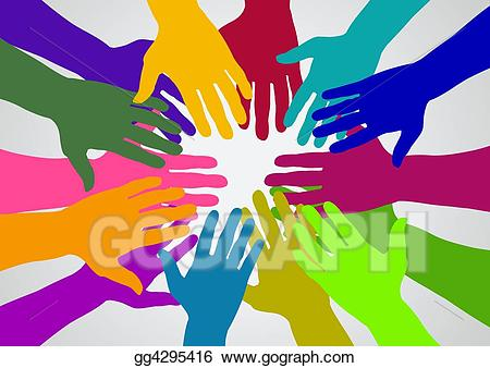 Hands clipart team. Stock illustration drawing gg