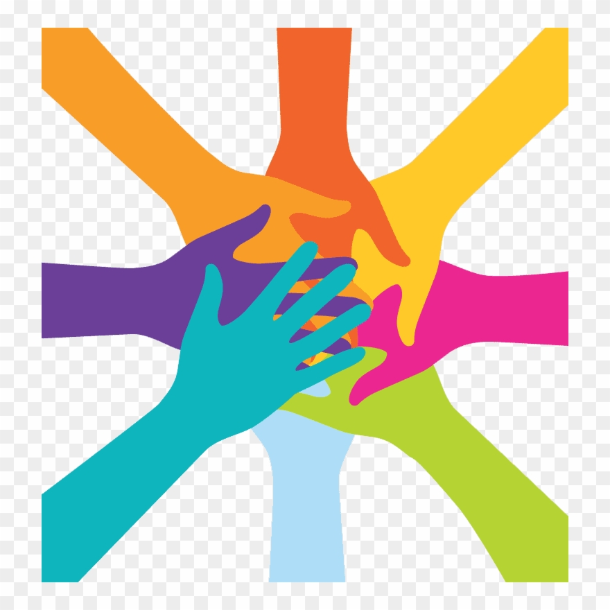 Charity group work hands. Hand clipart team