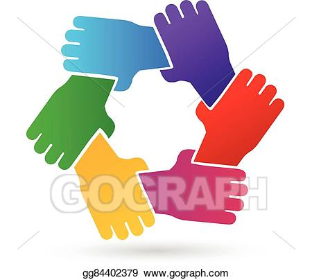Hand clipart teamwork. Vector hands people logo
