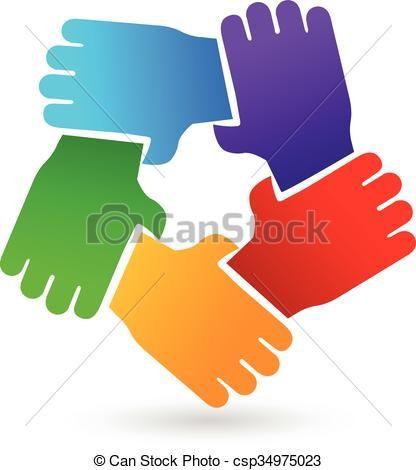 Vector hands people logo. Handshake clipart teamwork
