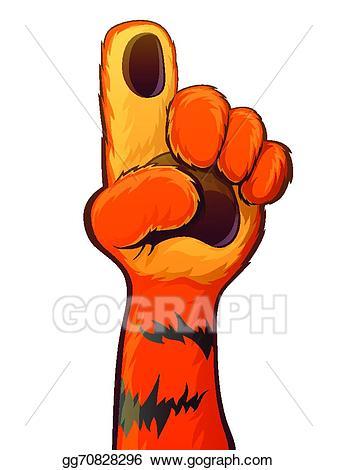 Clipart tiger hand. Eps vector raise stock