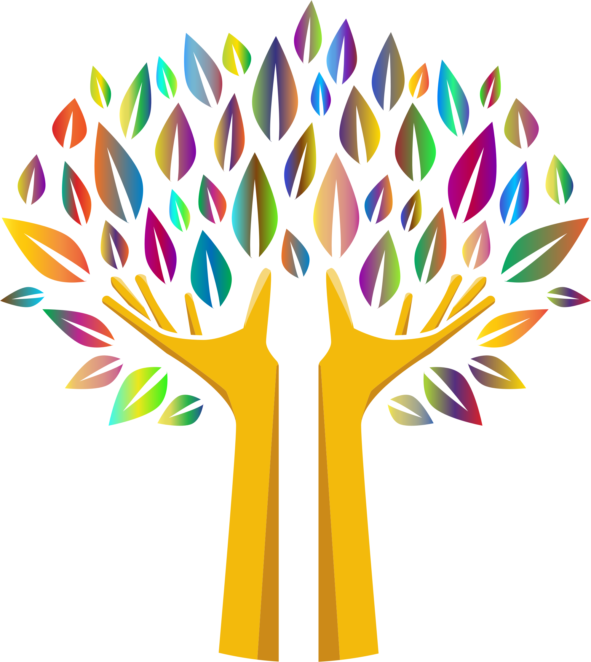 Hand clipart tree. Prismatic hands no background