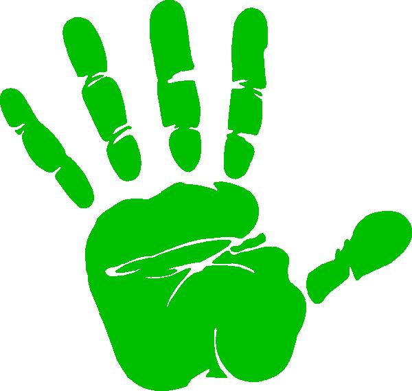 Clipart hand unity. Green handprint clip art