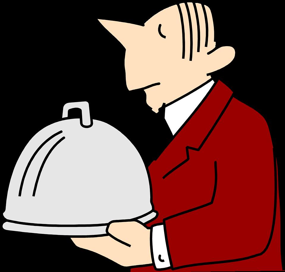 Free stock photo illustration. Hand clipart waiter
