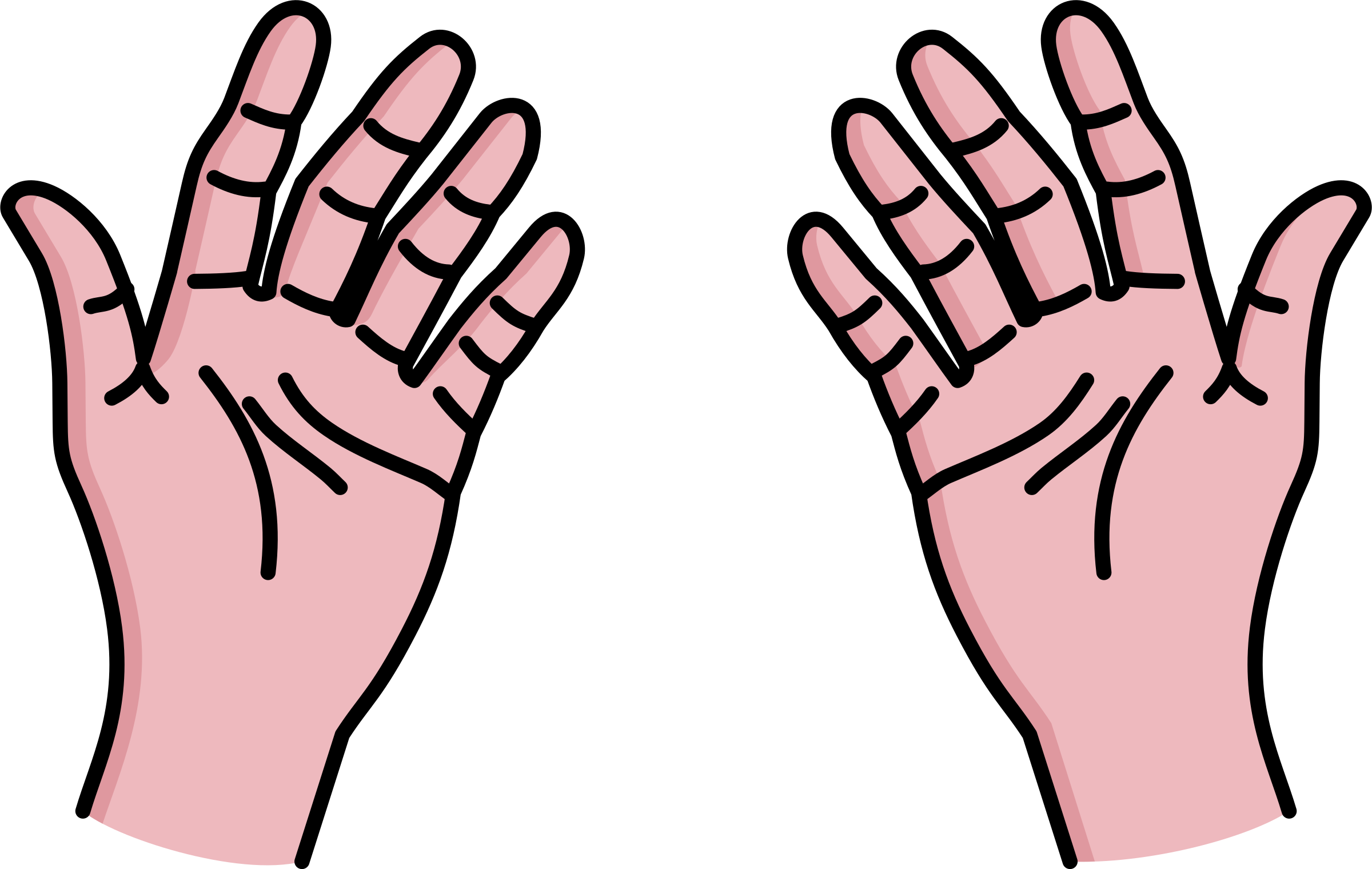 collection of hands. Fingers clipart table