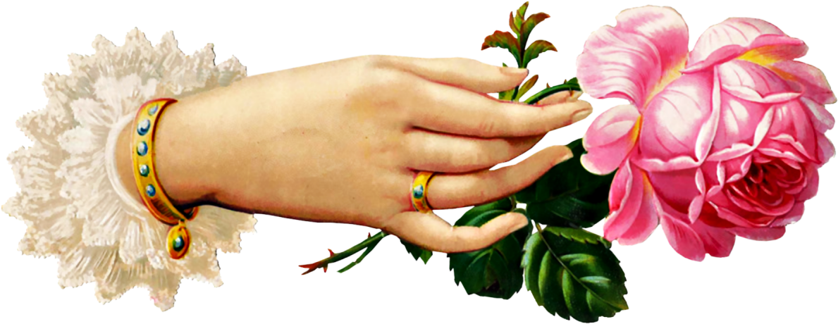 Free victorian hand with. Hands clipart flower