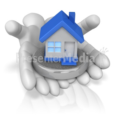 Holding business and finance. Hands clipart house