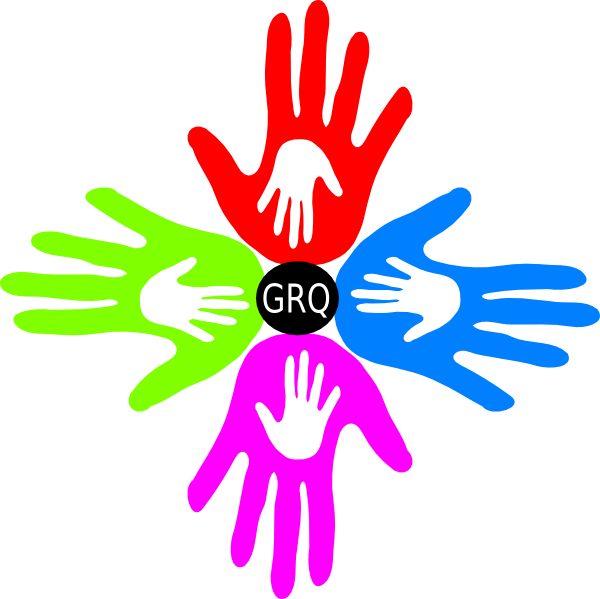 Hands clipart logo. Four colored grq clip