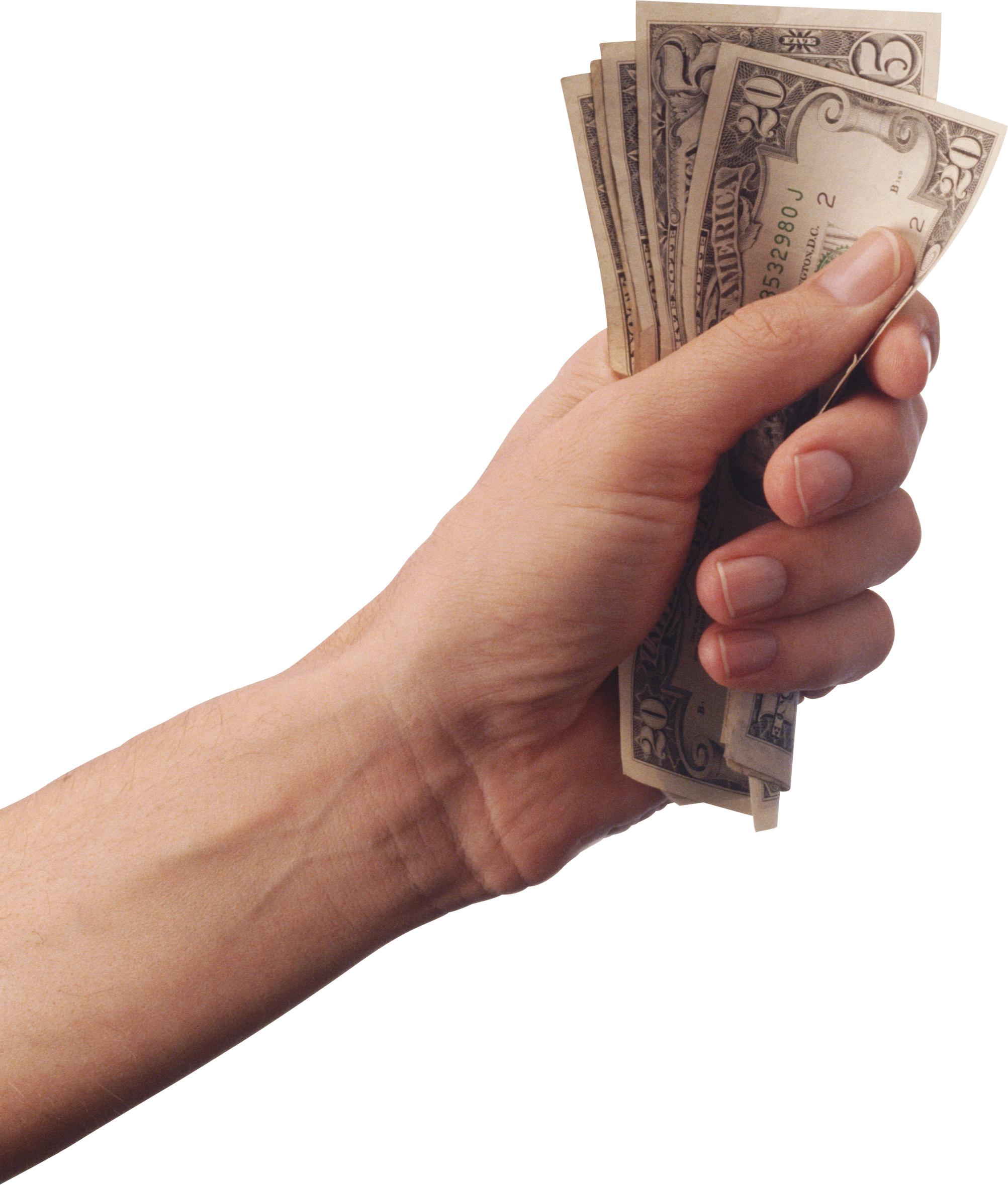 Hand holding three isolated. Economy clipart money donation