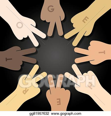 Hand clipart multiracial. Vector stock human hands