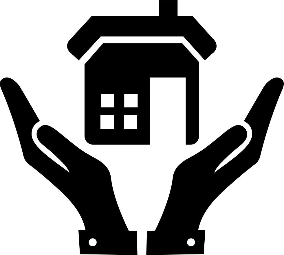 Hands and a home. Hand clipart open