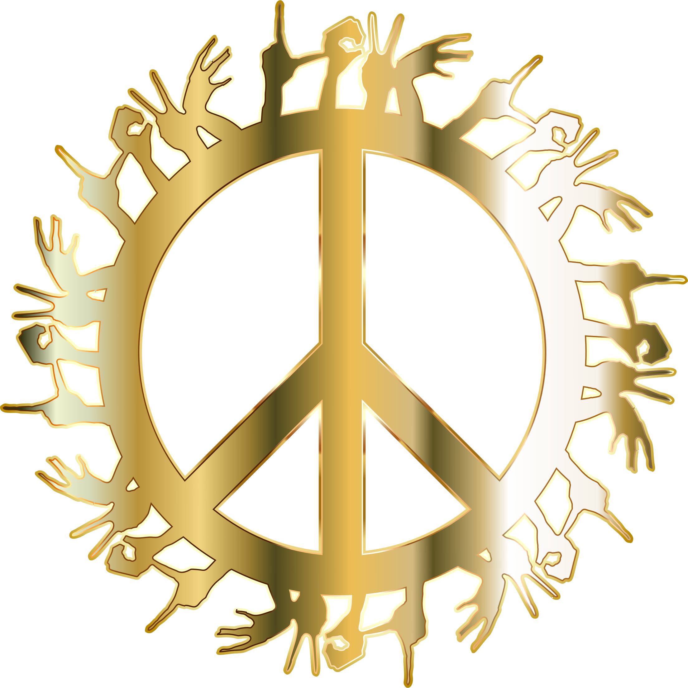 Gold love no background. Hands clipart peace