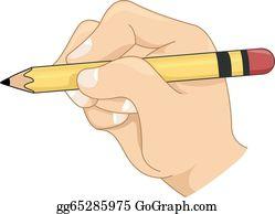 Hands clipart pencil. Clip art vector hand