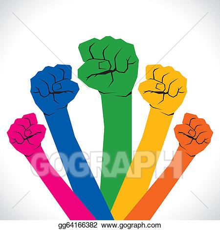 Hand clipart unity. Eps vector colorful every