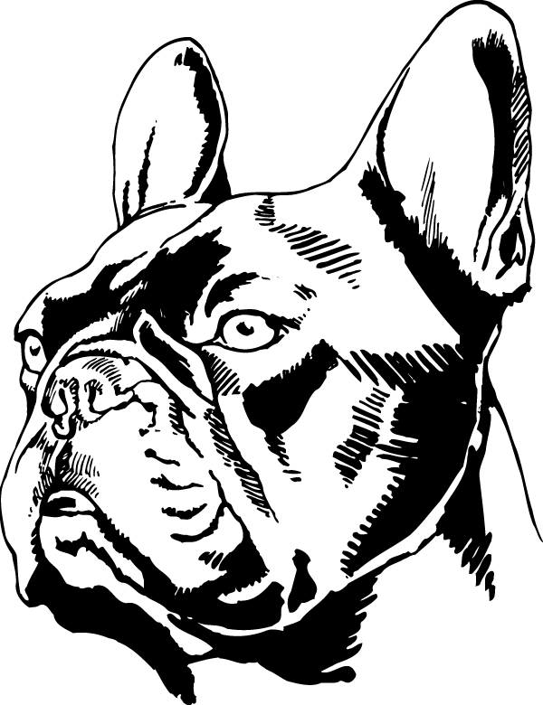 French head decal . Doghouse clipart bulldog